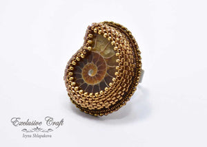 beaded adjustable ammonite ring