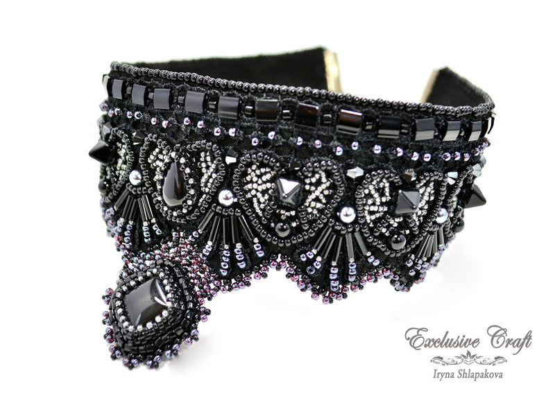 black gothic choker beaded