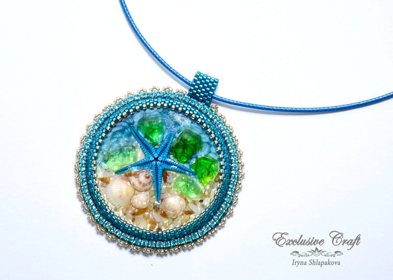 star fish bead embroidery necklace