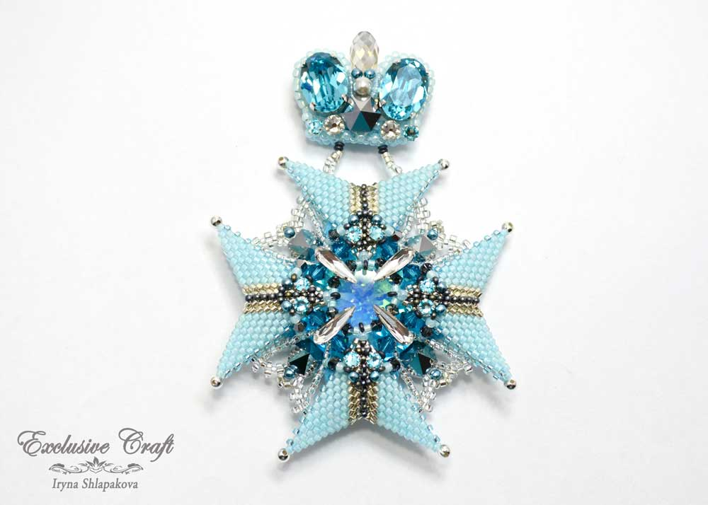light blue silver swarovski unique beaded brooch