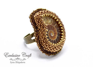 large beaded adjustable ammonite ring