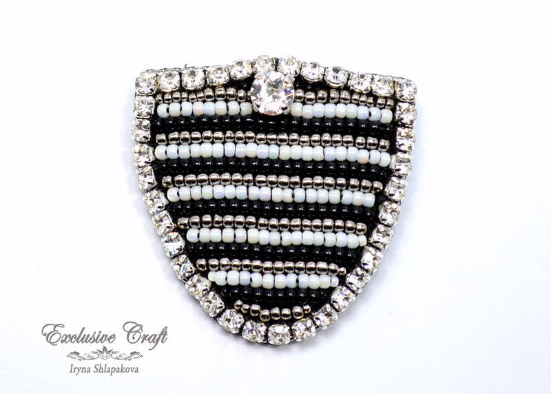 black white bead embroidered brooch NFL Raiders