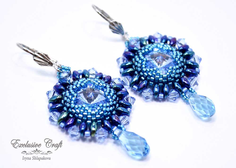 unique beaded blue Swarovski earrings