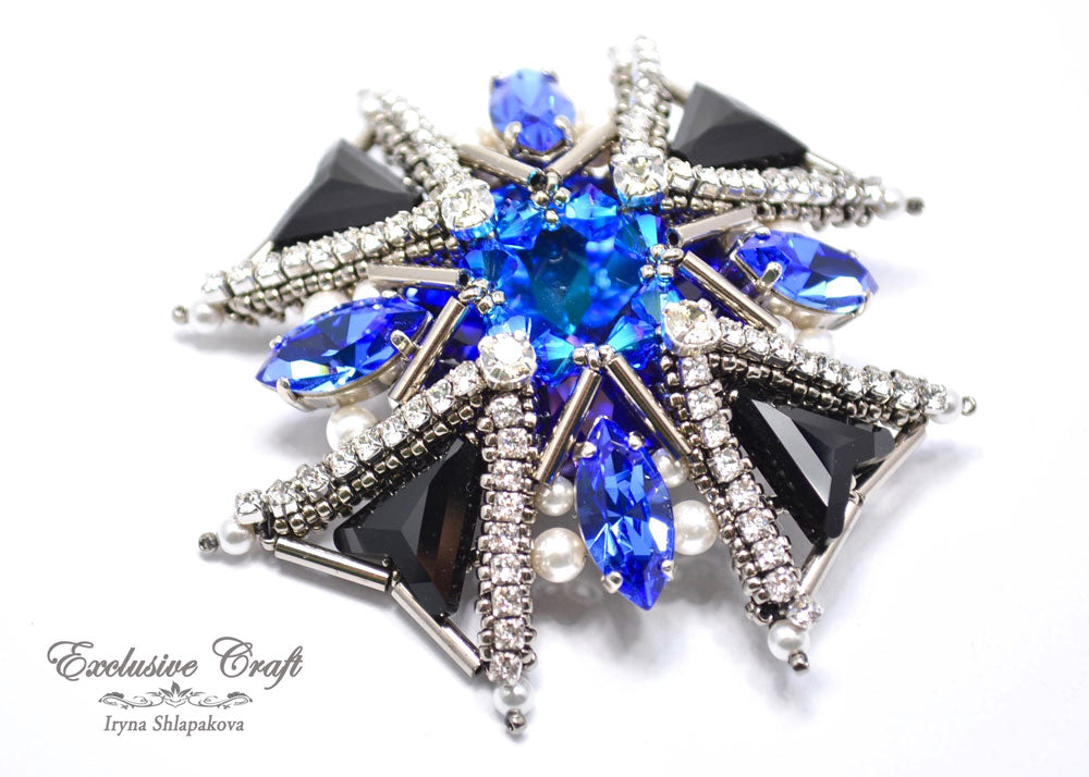 swarovski beaded blue silver cross brooch pin handmade