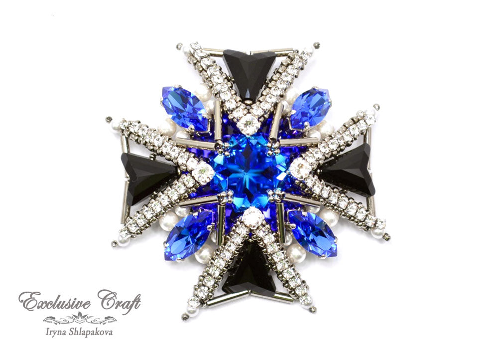 Maltese Cross beaded brooch