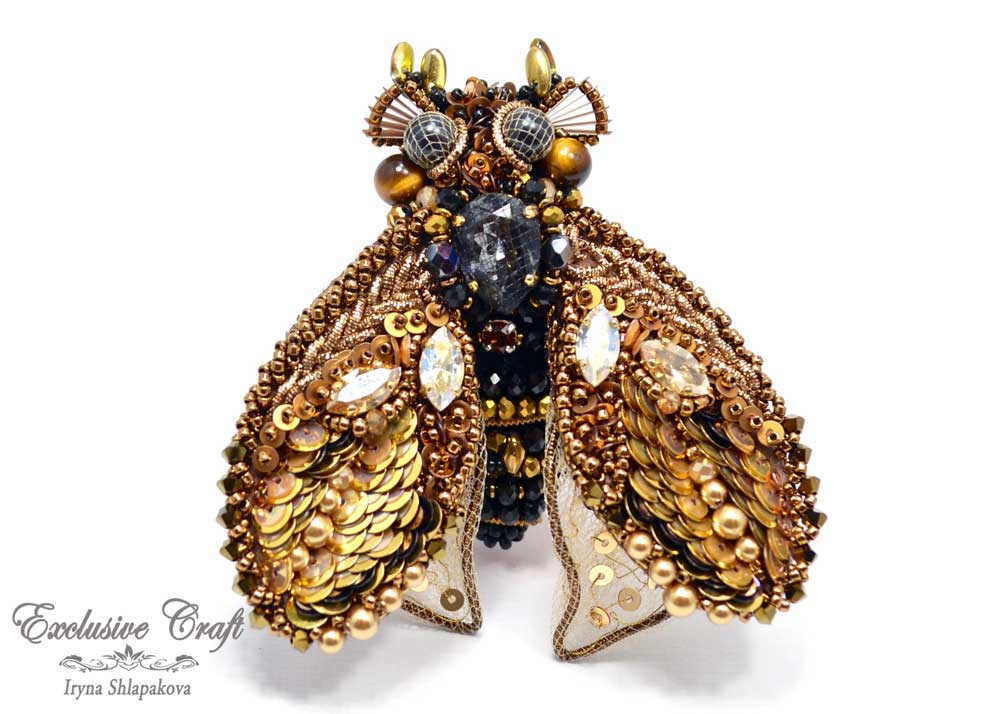 handmade artisan jewelry beaded brooch unique swarovski cicada