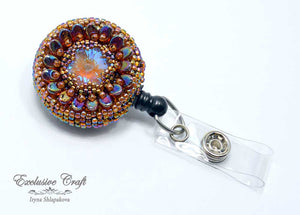 unique bead embroidered brown ID badge reel holder for nurse