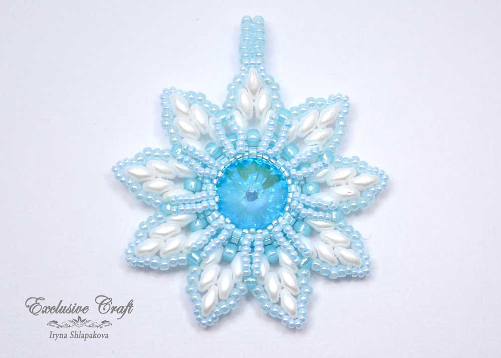 white blue christmas ornament beaded