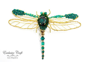 handmade artisan jewelry beaded brooch unique swarovski dragonfly