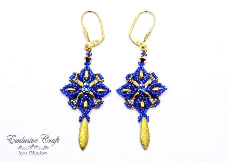 blue gold beaded earrings with swarovski