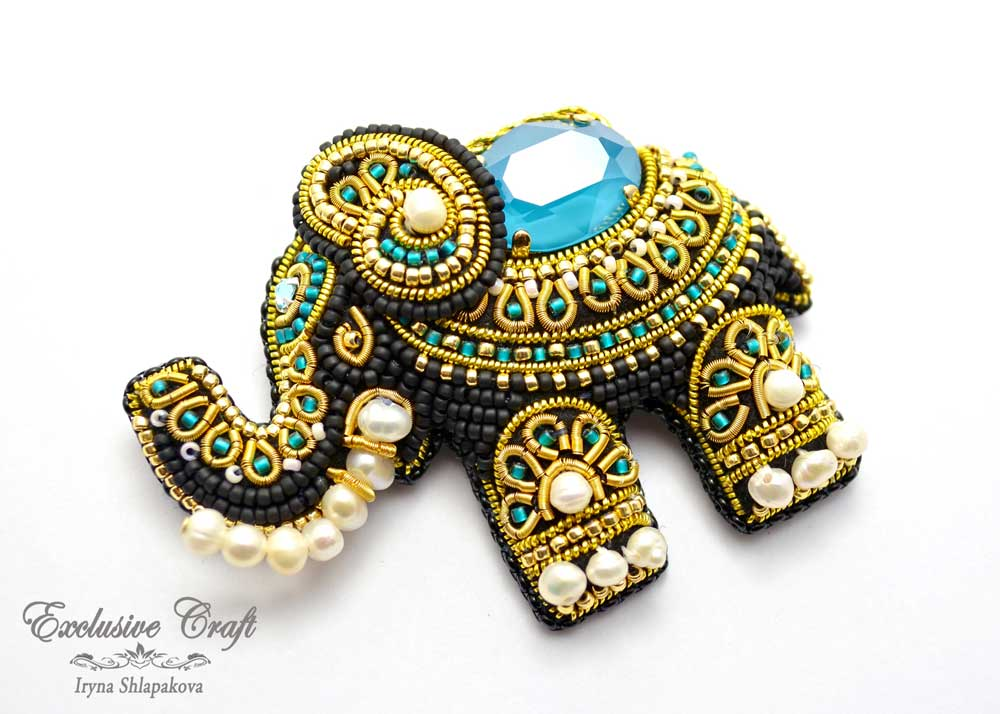 beaded elephant brooch