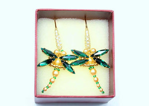 green emerald beaded Swarovski dragonfly earrings