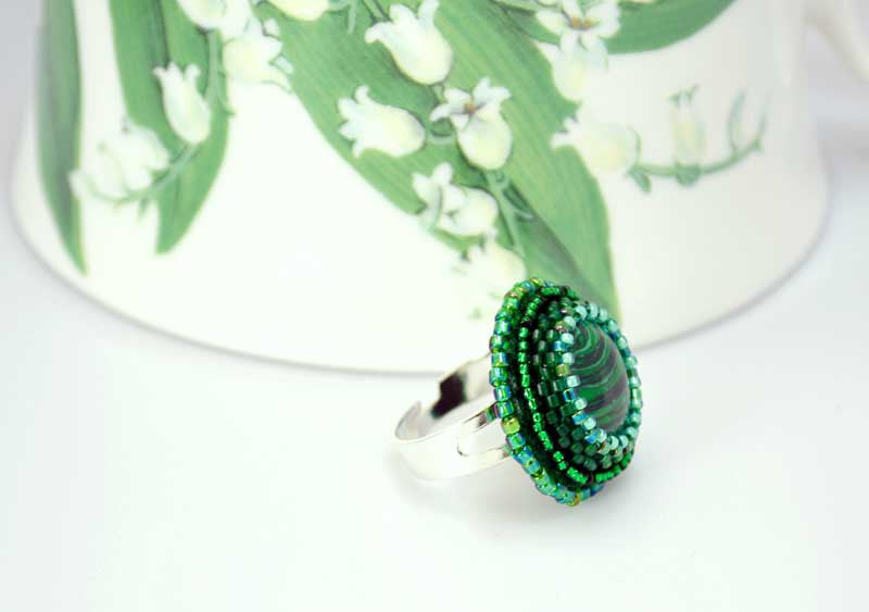 malachite beaded ring