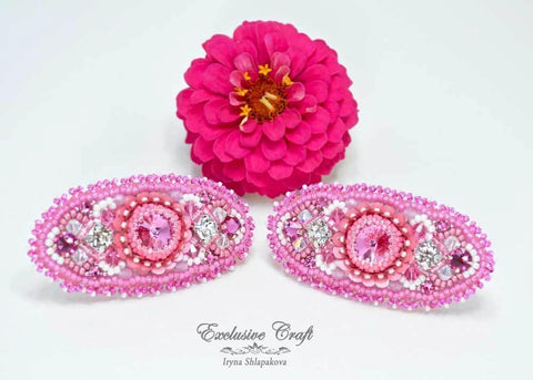 "Hair barrettes ""Dreaming of Peonies"""