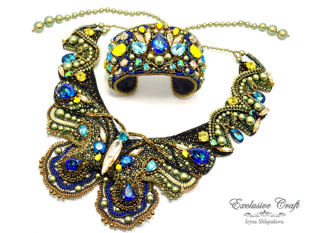swarovski bead embroidered cuff bracelet handmade and necklace