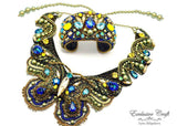 handmade beaded blue green gold swarovski necklace butterfly and cuff bracelet