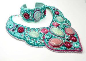 bead embroidered jewelry set