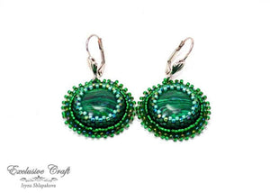 malachite beaded earrings