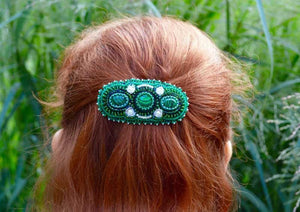 unique green beaded hair clip
