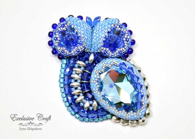 blue bead embroidered owl