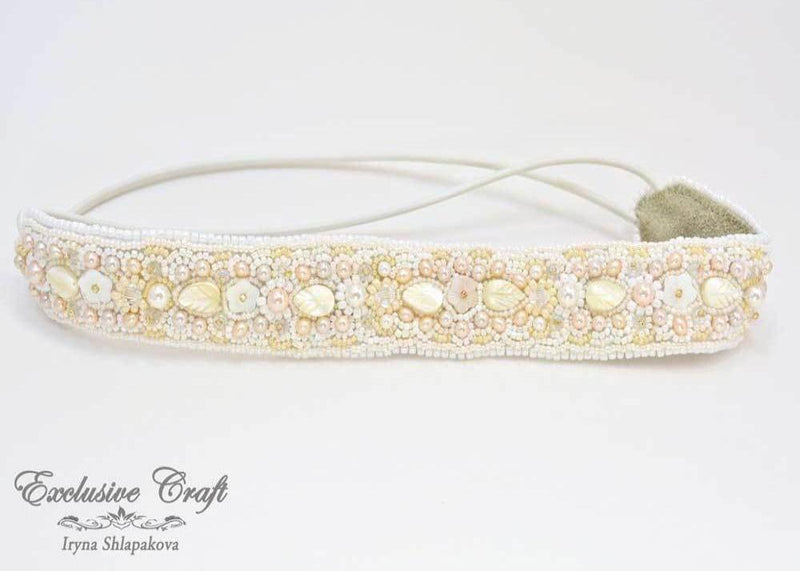 handmade bead embroidered white headband