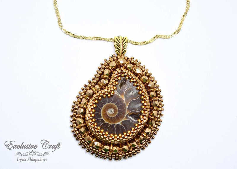 handcrafted bead embroidered brown bronze ammonite jewelry