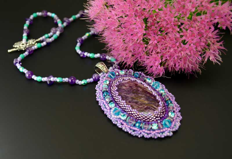 unique beaded necklace purple