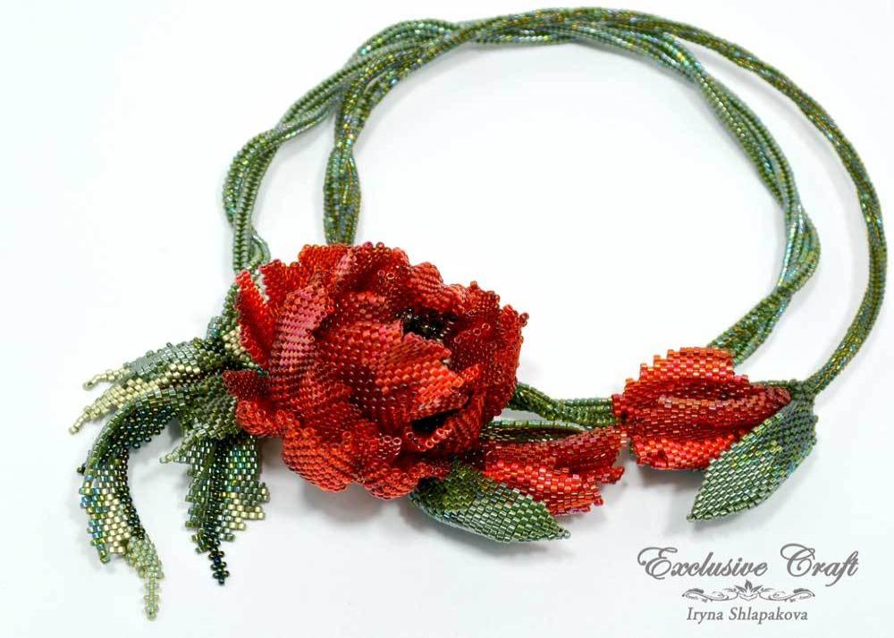 beaded poppy necklace