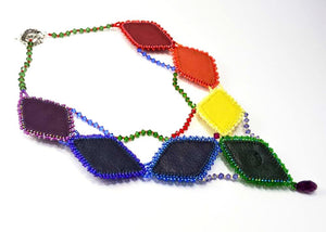 rainbow beaded embroidered necklace