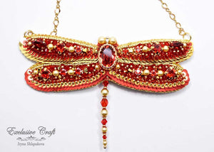 unique beaded red gold dragonfly Swarovski necklace