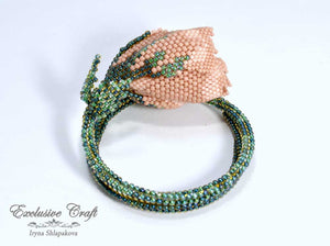 memory wire beaded rose bracelet