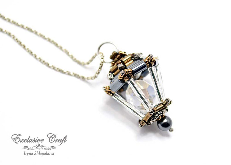 Unique beaded Swarovski bronze Lantern pendant