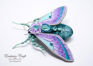 teal purple beaded embroidery cicada brooch