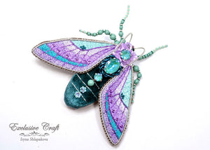 handmade teal purple beaded embroidery cicada brooch