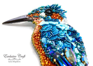 handmade artisan jewelry beaded brooch unique swarovski bird