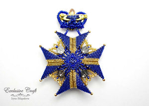 "blue gold fuchsia brooch ""Medal"" made with Swarovski"
