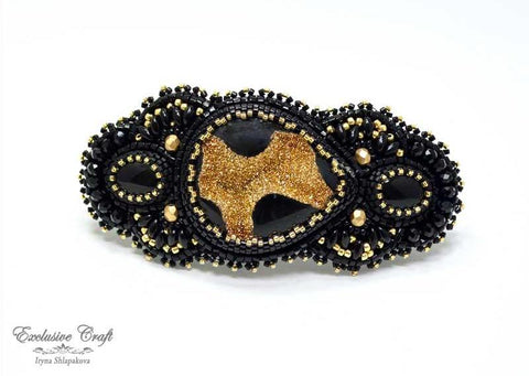 "Hair barrette ""Black Gold"""