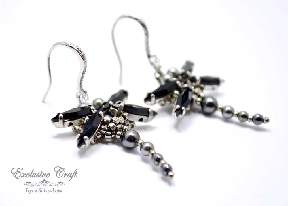 handmade beaded black swarovski dragonfly earrings