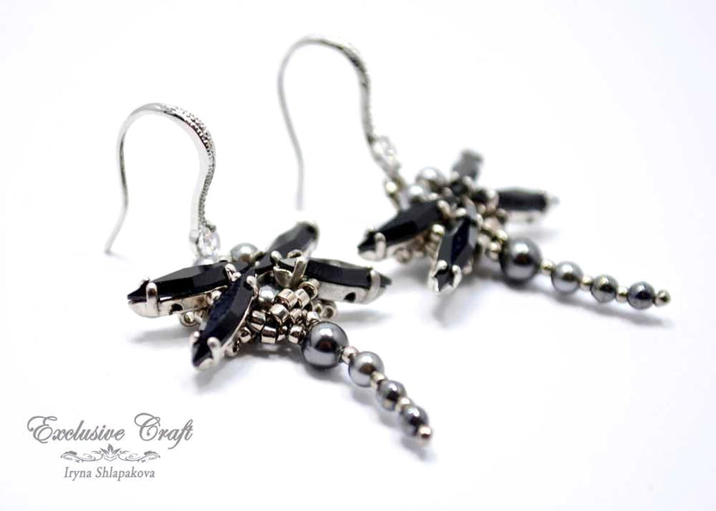 black goth beaded dragonfly earrings