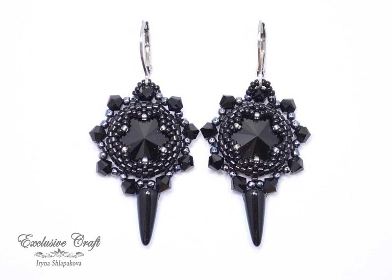 black goth beaded earrings