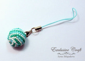 cell phone charm handcrafted ball