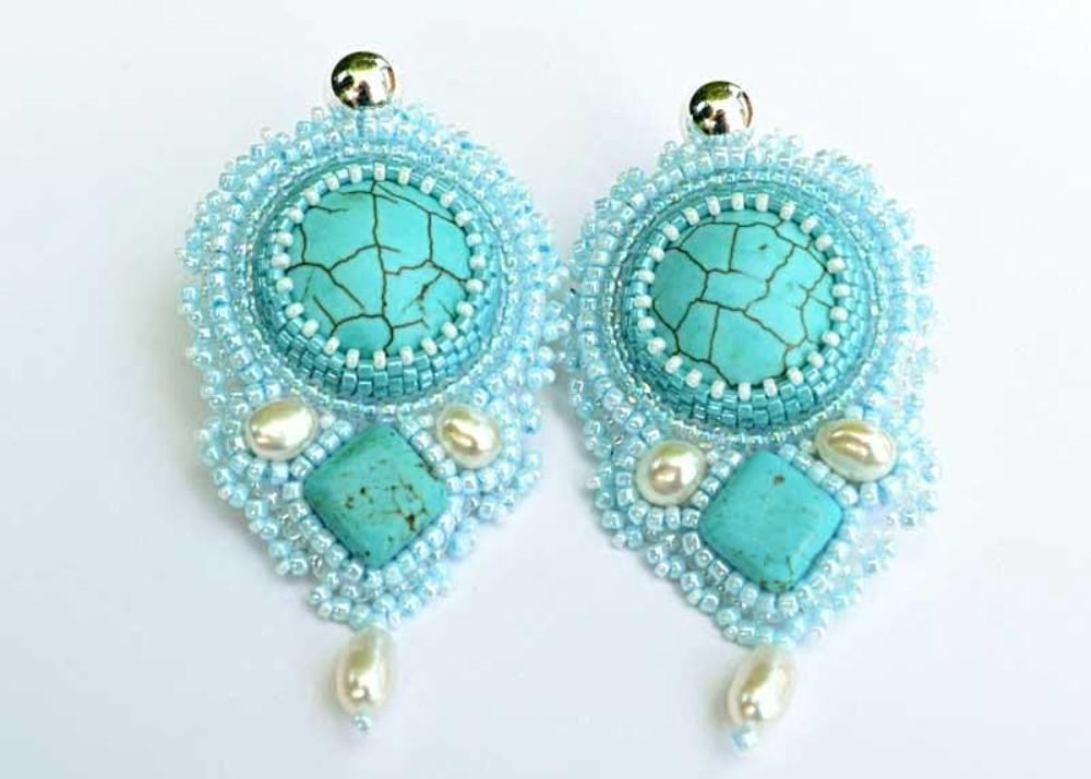 handcrafted bead embroidered earrings