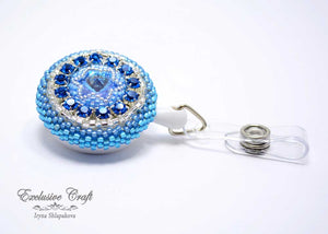 unique Swarovski beaded ID badge reel for nurse blue