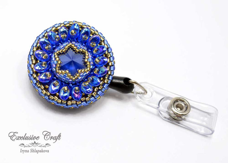 unique blue gold bead embroidered ID badge reel holder for nurse