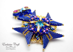 bead weaven blue gold fucsia brooch