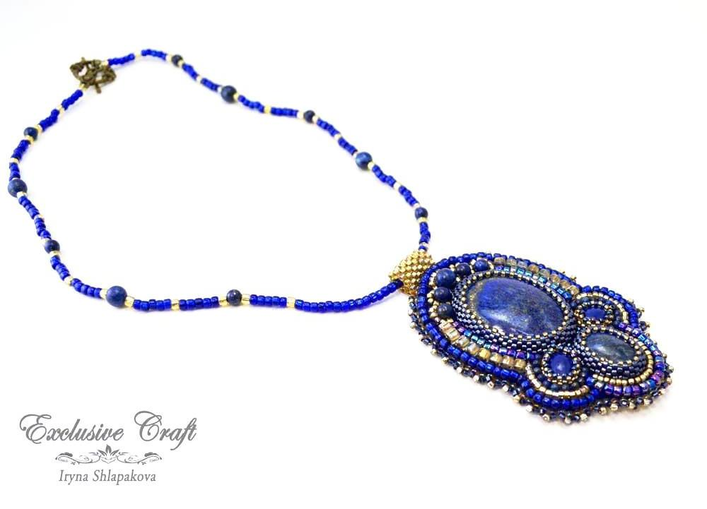 blue accessories handmade beaded pendant