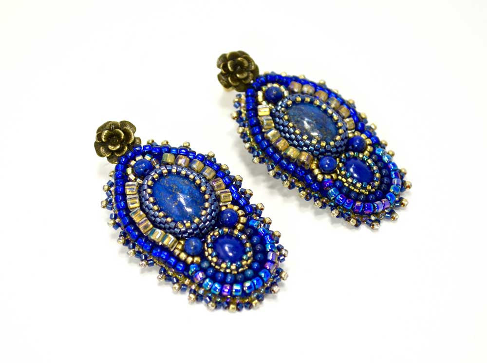 unique beaded blue earrings