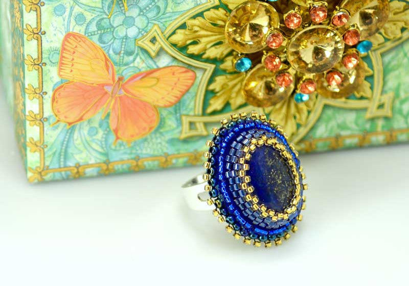 lapiz azuli beaded ring handmade