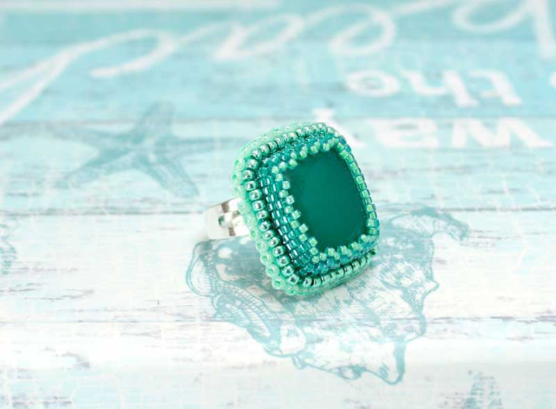 green handmade beaded ring