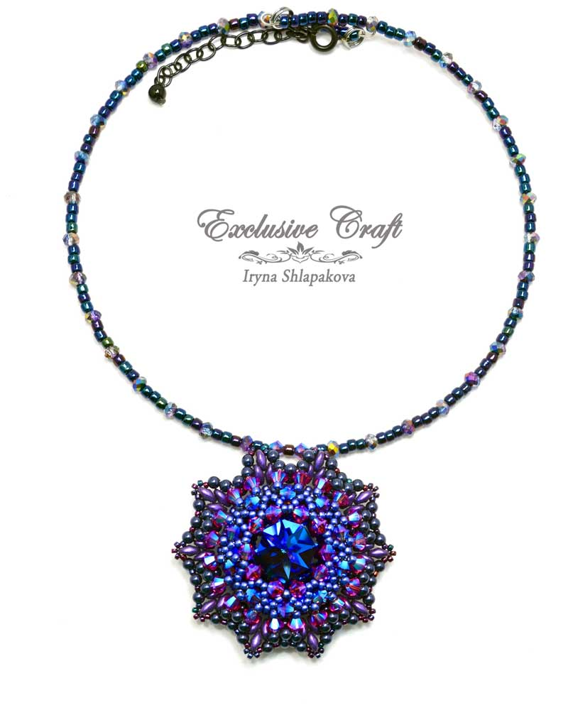 handmade artisan jewelry beaded pendant blue purple